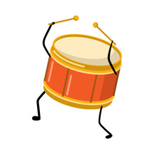 Cute Funny Red Gold Color Drum...