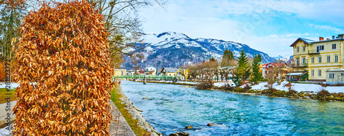 Panorama of Traun river from Sissi Park, Bad Ischl, Austria