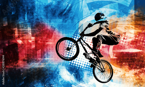 Canvas Print Sport illustration of bmx rider