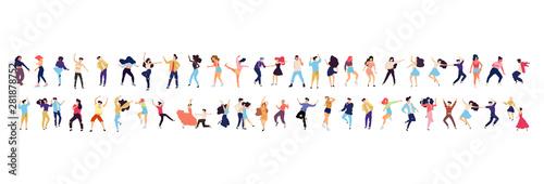 Fototapeta Crowd of young people dancing at club. Big set of characters having fun at party. Flat colorful vector illustration. - Vector obraz
