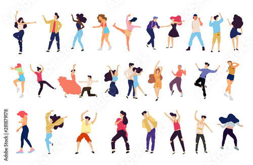 Fototapeta Crowd of young people dancing at club. Big set of characters having fun at party. Flat colorful vector illustration. - Vector obraz na płótnie