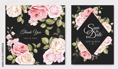 wedding card with beautiful roses template - 281881328