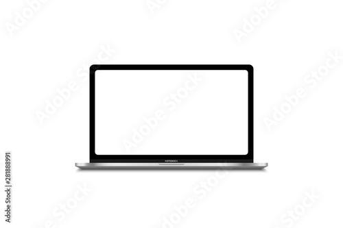 Fotografie, Tablou  Modern laptop computer mockup vector isolated on white illustration template for