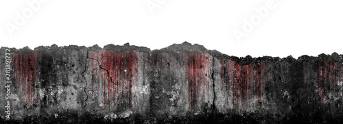 Fototapeta  Bloody scary on damaged grungy crack and broken concrete wall isolated on white