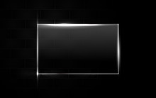 Abstract Black Background With Square Frame Transparent Glass Effect A Combination With Light Neon Border. Layer  Layout Space On For Text And Background Design