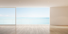 Perspective Of Empty Modern Living Room On Sea View Background,The Sun Light Cast Shadow On The Timber Floor. - 3D Rendering.
