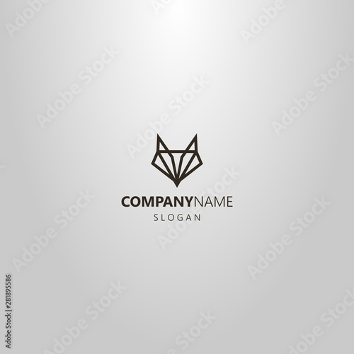 Black And White Simple Vector Line Art Geometric Logo Of An