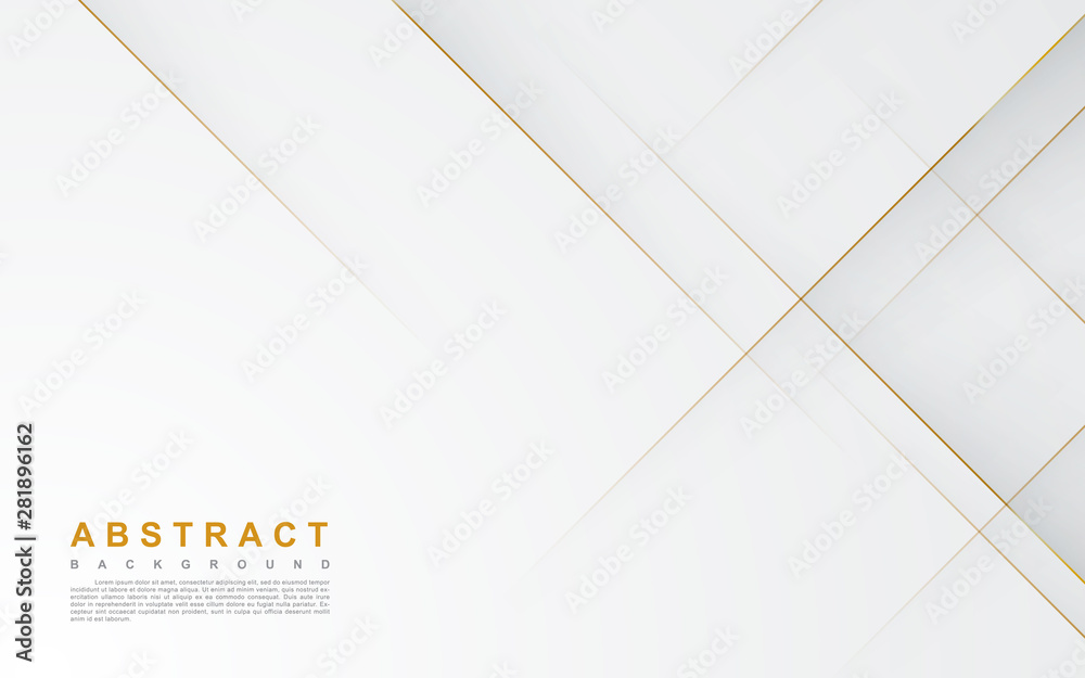Fototapeta Modern abstract light silver background vector. Elegant concept design with golden line.