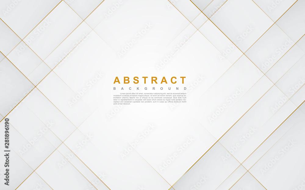 Fototapeta Modern abstract light silver background vector. Elegant concept design with golden line.