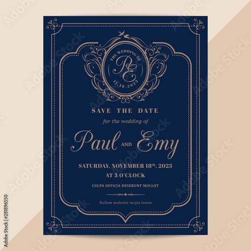 Fototapeta Modern Vintage Wedding Invitation Card With