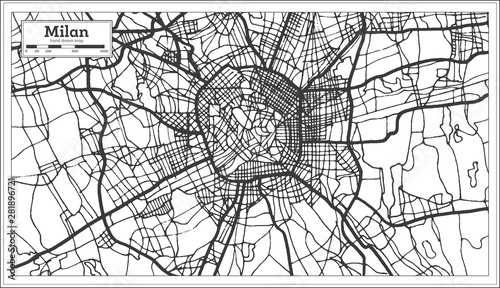 Fotografía Milan Italy City Map in Retro Style in Black and White Color