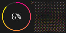 Set Of Circle Percentage Diagrams Meters From 0 To 100 Ready-to-use For Web Design, User Interface UI Or Infographic - Indicator With Gradient From Magenta Hot Pink To Yellow