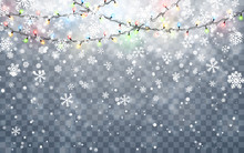 Christmas Snow. Falling White Snowflakes On Dark Background. Xmas Color Garland, Festive Decorations. Glowing Christmas Lights. Vector Snowfall, Snowflakes Flying In Winter Air