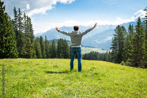 Woman Enjoying Panoramic Mountain View