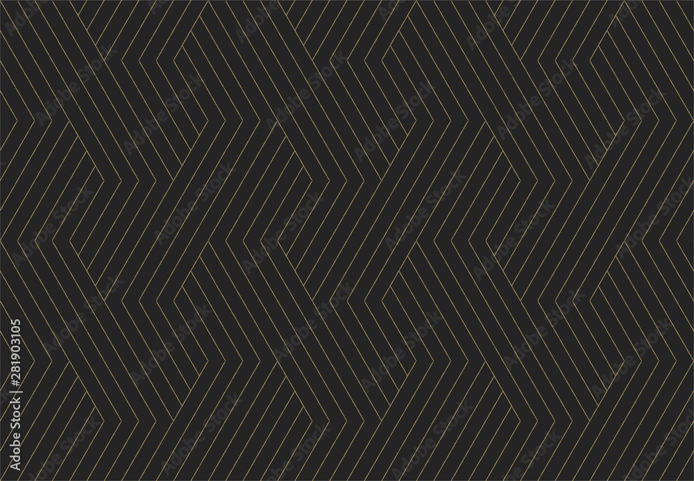 Fototapeta Seamless pattern. Dark and gold texture. Repeating geometric background. Striped hexagonal grid. Linear graphic design
