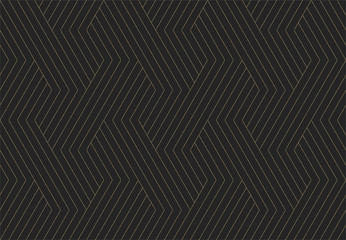 Seamless pattern. Dark and gold texture. Repeating geometric background. Striped hexagonal grid. Linear graphic design