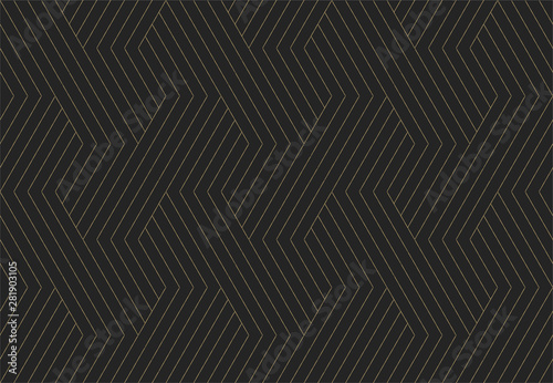Seamless pattern. Dark and gold texture. Repeating geometric background. Striped hexagonal grid. Linear graphic design - 281903105