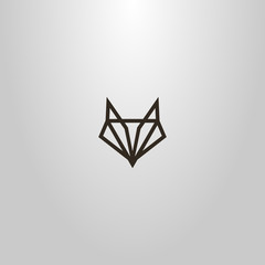 black and white simple vector line art geometric sign of an abstract fox or wolf head