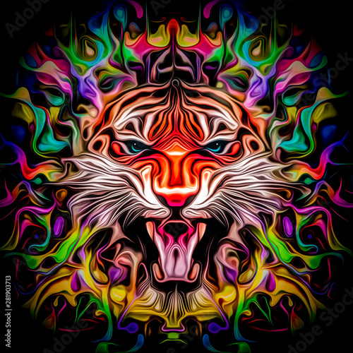 abstract illustration with angry tiger face