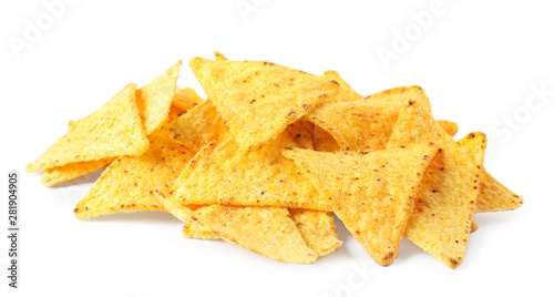 Pile of tasty Mexican nachos chips on white background
