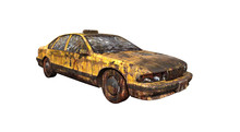 Yellow American Ruined Taxi Fr...