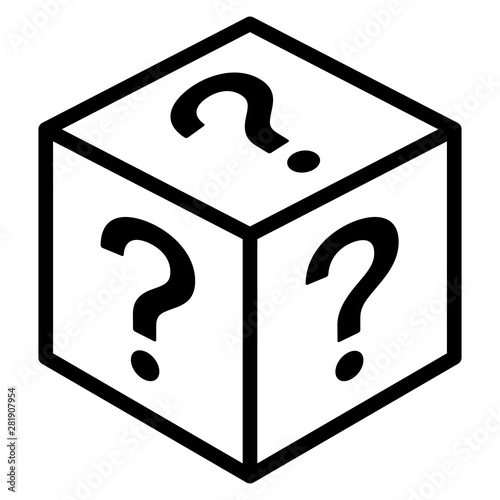 Obraz Mystery box or random loot box line art vector icon for games and apps - fototapety do salonu