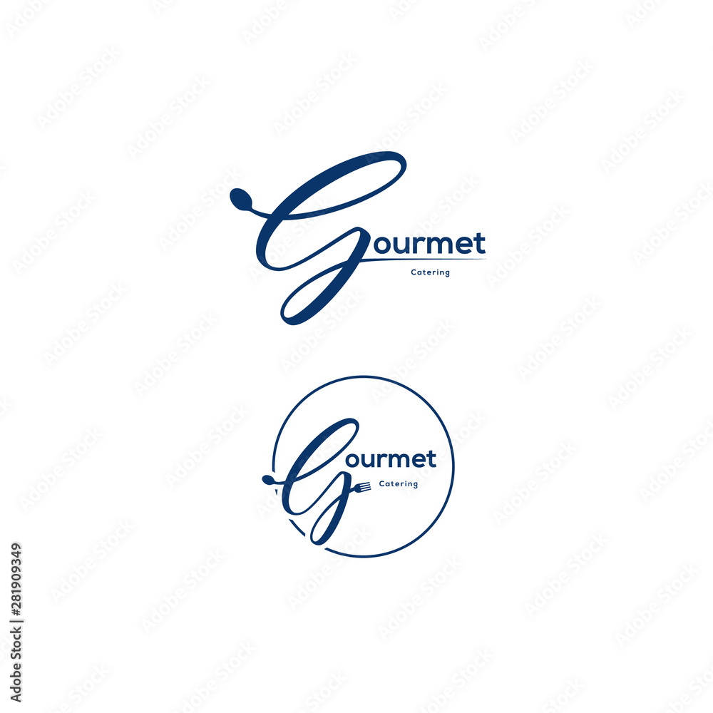 Fototapety, obrazy: Cursive logo vector about gourmet and restaurant.
