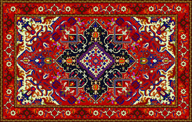 Persian carpet original design, tribal vector texture. Easy to edit and change a few colors by swatch window.