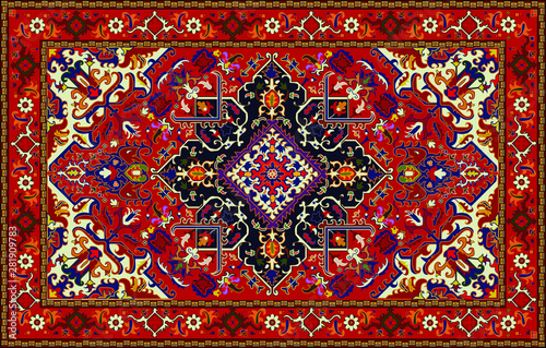 Fototapeta Persian carpet original design, tribal vector texture