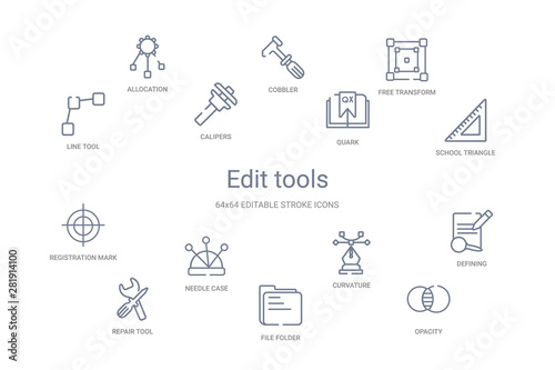 Valokuvatapetti edit tools concept 14 outline icons