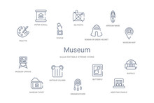 Museum Concept 14 Outline Icons