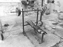 Vintage Exercise Machine, Black And White Photo