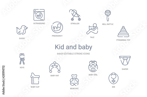 kid and baby concept 14 outline icons Canvas-taulu