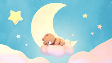 Cute Sleeping Bear On Lake Green Color Background. Beautiful Pastel Pink Clouds, Yellow Crescent Moon, And Stars. 3d Rendering Picture.