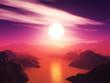 3D mountain landscape against a sunset sky
