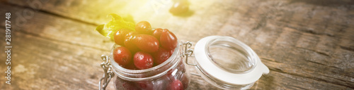 Fotografie, Tablou Ripe red cornel berries in small glass jar