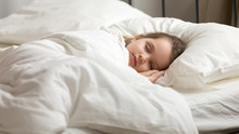 Sweet Little Kid Girl Having Healthy Day Nap In Bed