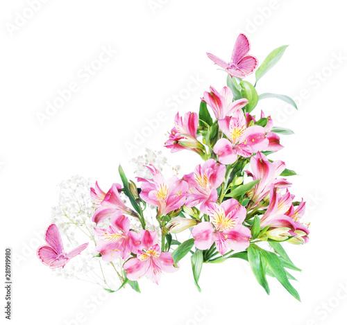 Alstroemeria flowers on a w...