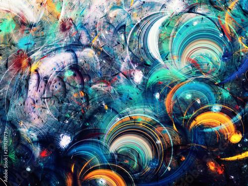 Naklejki Fantasy blue-abstract-fractal-background-3d-rendering-illustration