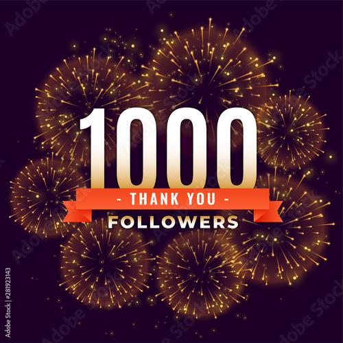 Obraz na plátne  1000 followers thank you celebration firework template