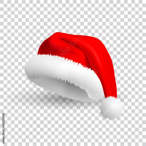 Fotografia  Santa Claus hat isolated on transparent background
