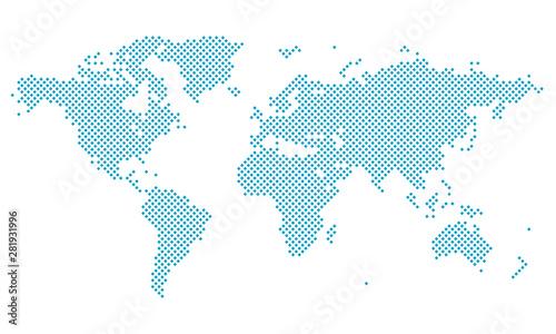 Cuadros en Lienzo  Dotted World Map - blue sky