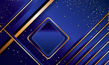 Gold Abstract Background Luxury Dark Blue And Golden Line Template Premium Vector Illustration