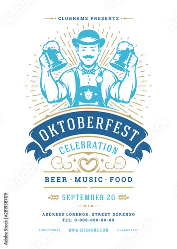 Oktoberfest flyer or poster retro typography template design beer festival celebration vector illustration