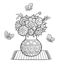 Vase Of Flowers Standing On A Napkin, And Butterflies. Black And White Vector Illustration, Antistress Coloring Page For Adults