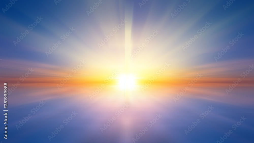 Fototapety, obrazy: Abstract sunset over the sea, symbolizing the hope of salvation and forgiveness.