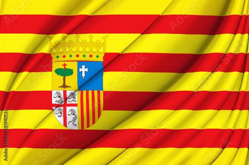 Obraz na płótnie Aragon waving flag illustration.