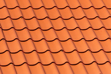 Overlapping Rows Of Red Tiles Roof In Estonia, Ridge Tiling Material Regular Pattern Background In Horizontal Orientation.