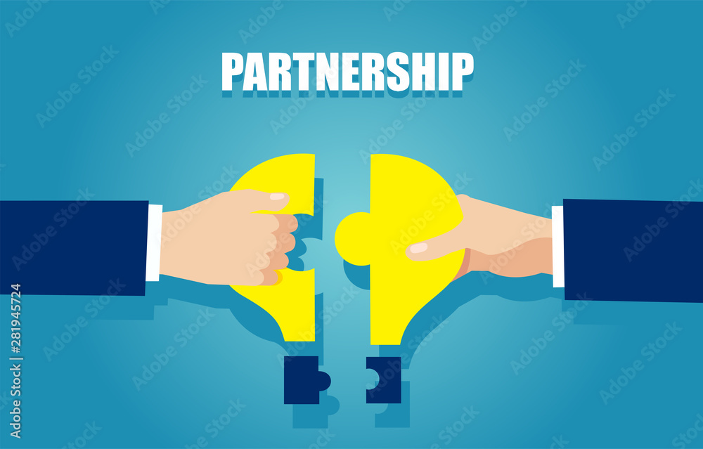 Fototapeta Vector of two businessmen bringing together puzzle pieces