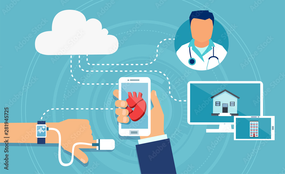 Fototapeta Vector of a modern health care devices tracking patient heart rate